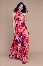 353de184 ELIZA J Pink Purple Floral Print Chiffon Halter Tie Neck Pleated Maxi Dress  16