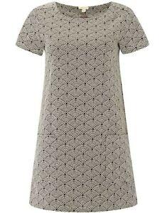 NEW Ladies Womens White Stuff POCKET TUNIC STYLE DRESS Size 10 GREY PATTERN