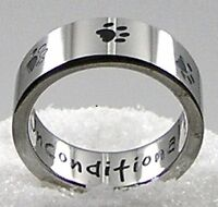 """""""Unconditional Love"""" Paw Print Ring Stainless Steel Silver Black Dog Cat"""