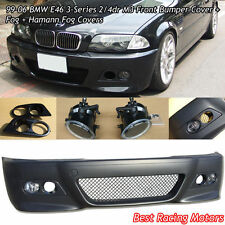 M3 Style Front Bumper Cover + Fog + Dual Hole Covers Fit BMW E46 4dr 3-Series