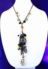Black Gold Accent Boho Chic 4K Designer Statement Hematite Tassel Bead Necklace