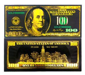 "★ USA : BILLET POLYMER NOIR COULEURS  "" OR "" DU 100 DOLLARS ★ type 1"