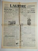 N543 La Une Du Journal L'aurore 21 février 1946 Moscou avoue mort bucard