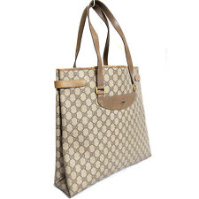 Vintage Auth Gucci Accessory Collection GG Brown PVC/Leather Tote Shoulder Bag P