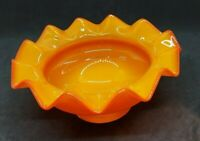 Orange Ruffled Crimped Art Glass Dish Bowl