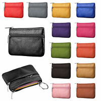 GENUINE LEATHER UNISEX SMALL PURSE POUCH WALLET FOR COIN KEYS CARDS MONEY BAG
