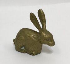 Vintage Brass Hare Bunny Rabbit Long Eared Animal Figurine Trinket Paperweight