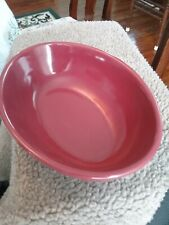 Longaberger Pottery Oval Vegetable serving Bowl Paprika red Woven Traditions
