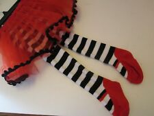 Mud Pie Red and Black TuTu Skirt Footed Leggings, Size 0-6 Months, NEW