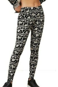 Fila Womens Kaylee All Over Logo Printed Leggings LW932582 Grey-Size Small