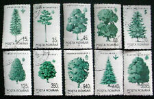 1994 ROMANIA; TREES SET OF 10 STAMPS, 9 WITH GLUE: LOT 1