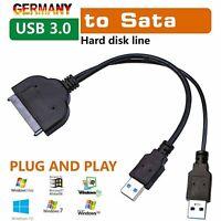 """USB 3.0 zu SATA 22 pin 2.5"""" External SSD Hard Disk Drive Adapter Converter Kabel"""