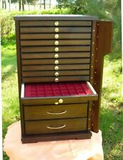 NEW Coin Tray Collection Cabinet /14 Trays+ 2 Drawer Perfect for Coins Medals UK