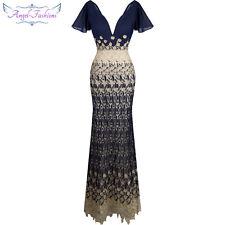 Angel fashions Women's V Neck Cap Sleeve Lace Chiffon Prom Dress 316