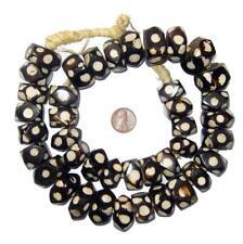 Polka Dot Batik Bone Beads Faceted 22mm Kenya African Black and White Unusual