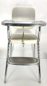 Vtg High Chair Cosco Mid Century Modern Tray/Footrest Vinyl Chrome White Silver