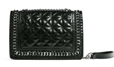 Ladies ZARA Black Leather BAG quilted cross body Embossed Silver Chain