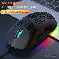 M8 RGB Usb Wired Gaming Mouse with Lightweight Honeycomb Shell 7 Buttons12000