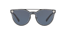 NWT Versace Sunglasses VE 2177 1009/87 Matte Black Silver / Gray 45mm 100987 NIB