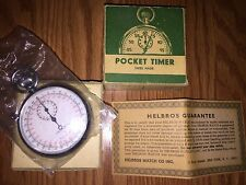 NOS Helbros Antimagnetic Pocket Timer RARE Swiss Made Never Used in BOX