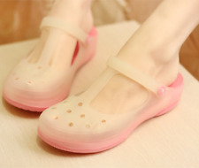 Womens Jelly Hollow Out T-strap Mary Janes Non-slip Slingbacks Slippers Sandals