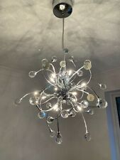 Searchlight 12 Light Halogen Chrome Ceiling Pendant Crystal Balls Light
