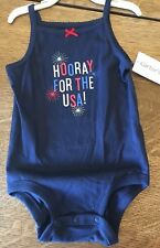 New with tags Carter's girl 4th of July shirt bodysuit sleeveless Size 12 month.