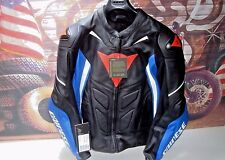 Motorcycle Leather Jacket Mens Dainese Avro D1  EU 56 Black Sky Blue White HB
