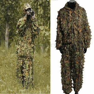 Camping Camouflage Suit Ghillie Leaf 3D Jungle Forest Hunting Clothes Set UK CA