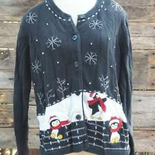 White Stag Penguins Ugly Christmas Sweater Size L 12-14