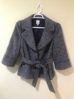 Halogen Women Black Gray Tweed Knit 3/4 Sleeve Belted Blazer Jacket Lined Sz XL