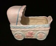 Vintage Ceramic Musical Baby Bed Planter - Sankyo Japan C 1689 Musical Component