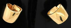 Heavy 14K yellow gold elegant high fashion fancy abstract clip on earrings