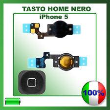 TASTO HOME BUTTON COMPLETO FLAT FLEX PER APPLE IPHONE 5 BOTTONE NERO BLACK