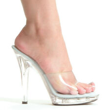 """5"""" Inch Fitness Pageant Bikini Contest Heels Clear Shoes SIZE 6 7 8 9 10 11 12"""