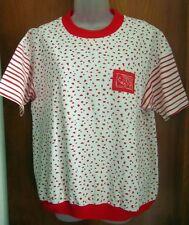 GREENLINE SPORT vtg women's 1980s fish T shirt Glint spots & stripes kitschy XL