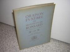 1948.oraison funèbre de Ronsard par Jacques davy Du Perron.non coupé sur vélin