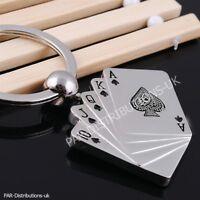 Poker Card Key Ring Keyfobs Keyring Rummy Brag Bridge Cribbage Don Ace Gift UK