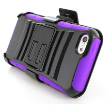 For iPhone 5C Rugged Hybrid Dual Layer Case Cover Belt Clip Holster Kickstand