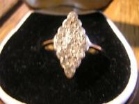 Beautiful Victorian Quality,12ct Gold & 0.70ct Diamond Marquise Ring