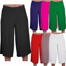 New Ladies Plain 3/4 Length Short Trousers Casual Wide Leg Culottes Pants 8-26