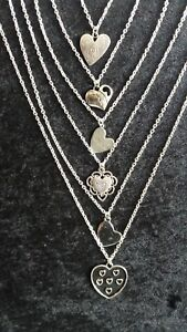 """HEART NECKLACES VARIOUS STYLES SILVER TONE 18"""" CHAIN NEW"""
