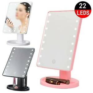 22 LED COSMETIC MAKE UP MIRROR TABLETOP VANITY TOUCH SCREEN MIRROR BATHROOM