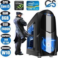 FAST Gaming Computer PC Intel Core i5 8GB 240GB SSD Windows 10 2GB GT710