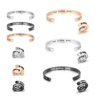 Women Girl's Stainless Steel Bracelet+Finger Ring Keep Going Open Cuff Bangle US