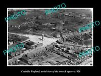 OLD LARGE HISTORIC PHOTO OF COALVILLE ENGLAND, VIEW OF THE TOWN & SQUARE c1920