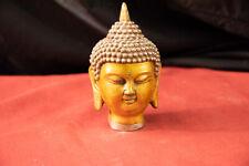"7"" Gilt Buddha Bust/Head w/ Tibetan Stamp"