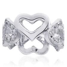 0.60 Carat Pave Set Diamond Heart Shaped Eternity Band 14K White gold