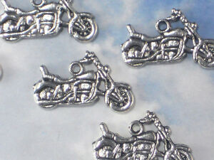 8 Motorcycle Biker Charms Antiqued Silver Tone 2 Sided Great for Jewelry #P268