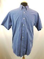 Brooks Brothers Mens Seersucker Summer Shirt Blue Gingham Short Sleeve Size M